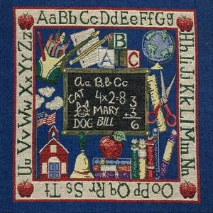 Vintage tapestry cross stitch decor farmhouse